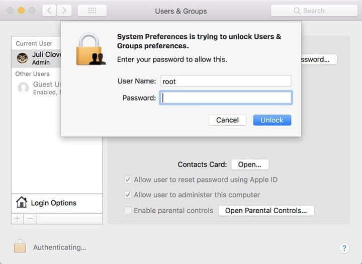 administrator access macos