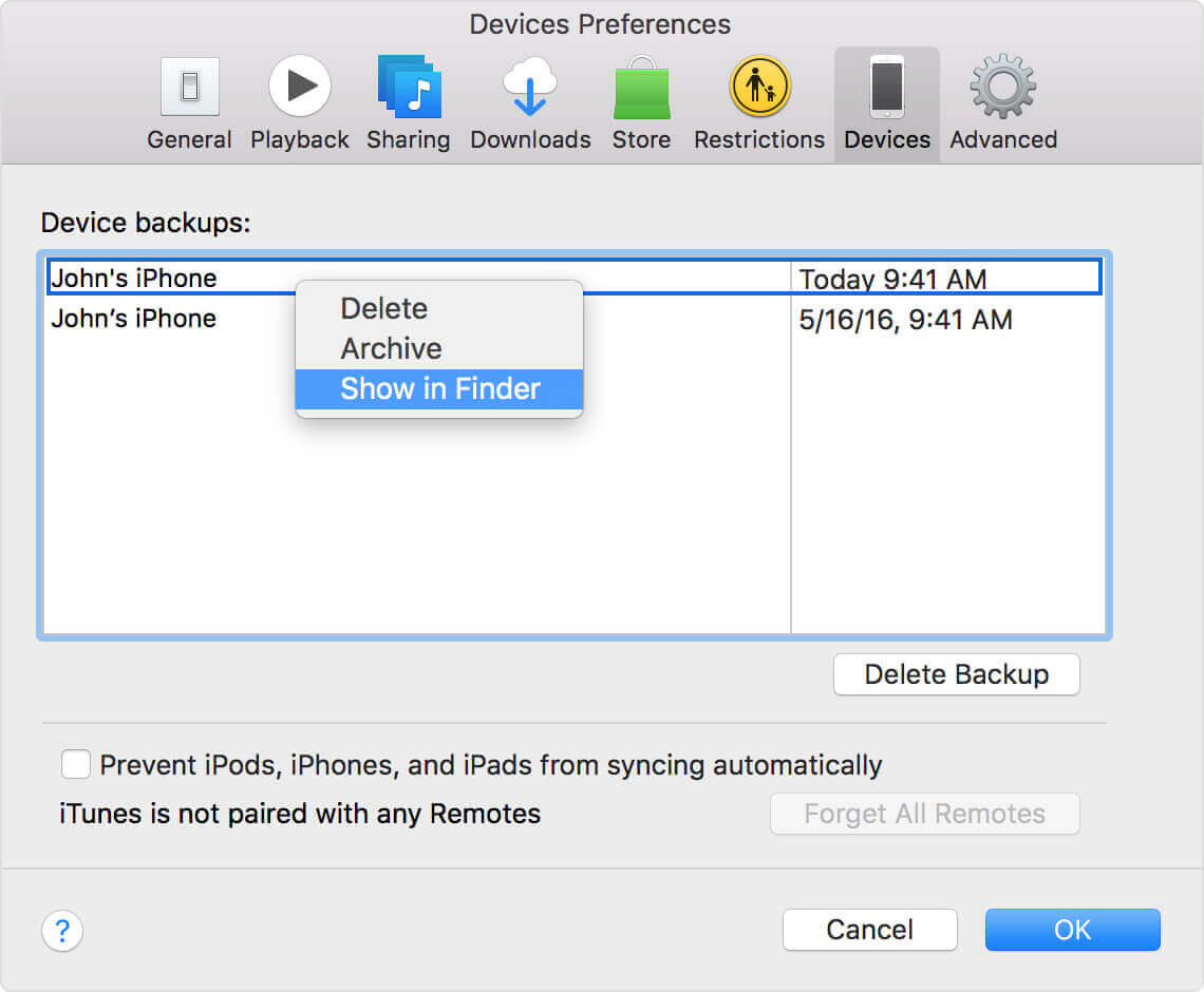 macos itunes device preferences show in finder