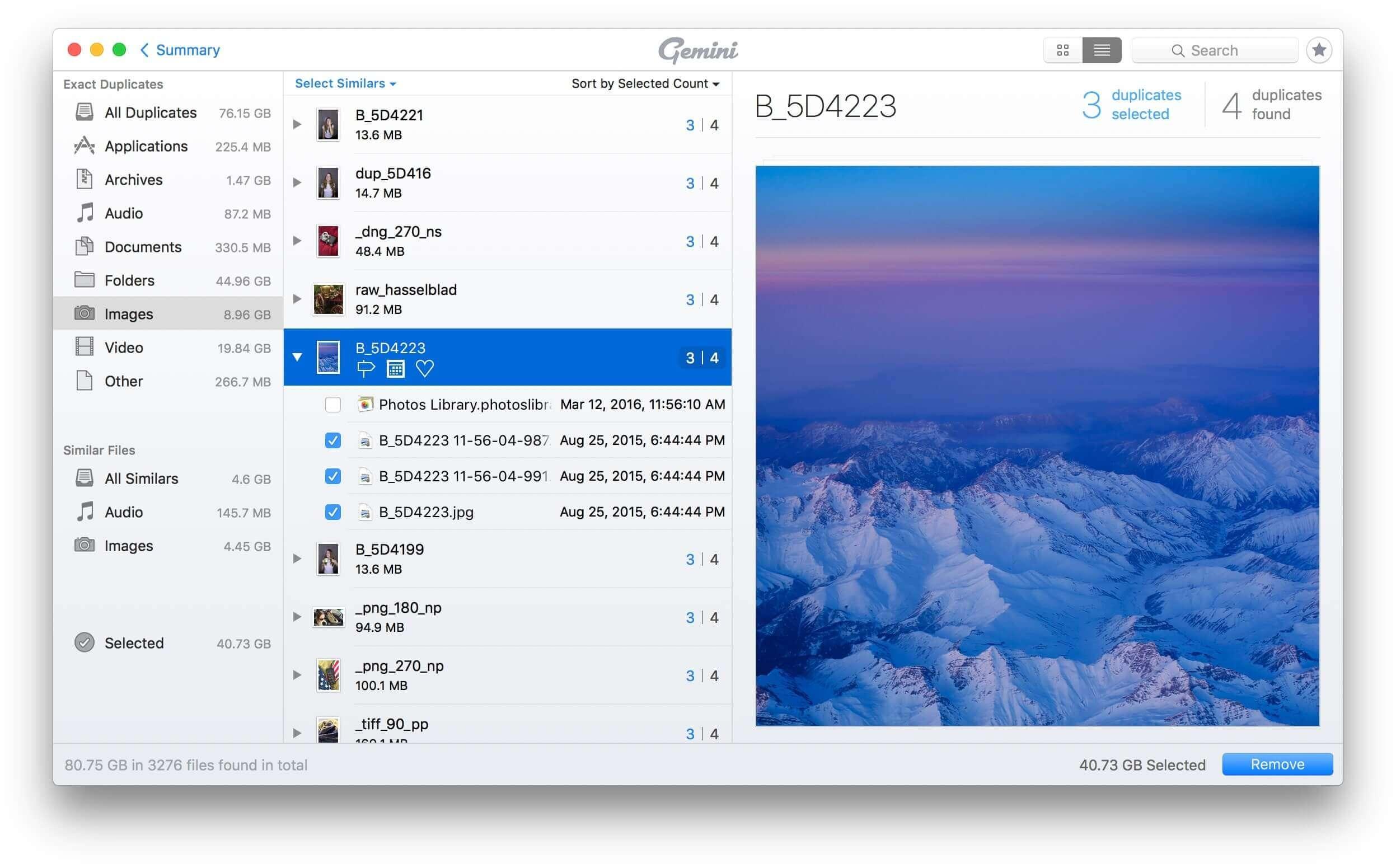 select duplicate images mac